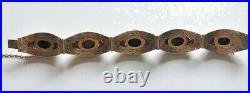 VTG Chinese Export Gilt Silver Grape Motif Filigree Tiger Eye Cabochon Bracelet
