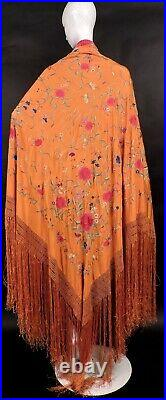 Vibrant Orange 19th C Chinese Canton Shawl W Rich Hand Embroidered Florals