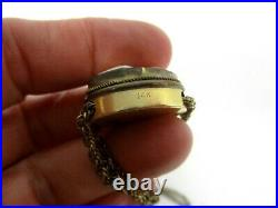 Victorian 14k Cameo Slide Chain Chinese Enamel Vinaigrette Perfume Locket Birds