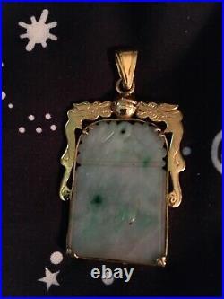 Vintage 14k Solid Gold Carved Chinese Jade Pendant