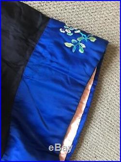 Vintage 1920s Silk Satin Chinese Robe, Padded Satin Lining & Rabbit Fur Collar