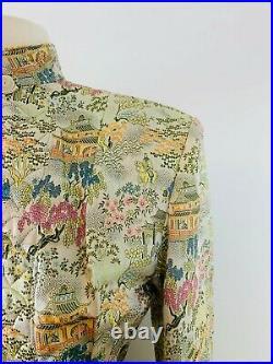 Vintage 1940s Chinese Celadon Green BROCADE Quilted Jacket Shoulder Pads M