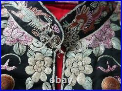 Vintage 1940s Chinese wedding embroidered robe jacket & skirt, gun-qua, qwa, kua