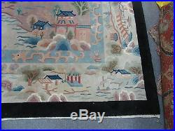 Vintage 1960's Art Deco Chinese Rug 8'5 x 11'5 Hand Knotted Wool River Scene