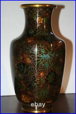 Vintage 1969 1971 Chinese Cloisonné Vase 12-1/2 Rare Height Large