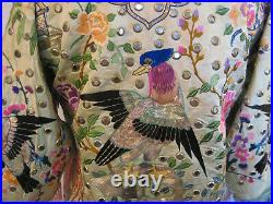 Vintage 19th century Chinese embroidered silk jacket with beaded fringe & mirrors