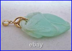Vintage 2.3 Chinese 14K Gold & Carved Celadon Green JADEITE Jade Peach Pendant