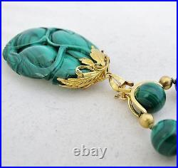 Vintage 24 Green Malachite & 14K Yellow Gold Necklace with Chinese Pendant (155g)