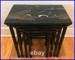 Vintage 4-Set Chinoiserie Nesting Tables with Pearl & Abalone Shells Inlaid