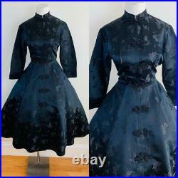 Vintage 50s DYNASTY Black Chinese Silk Princess Style Jacket Coat Butterflies M