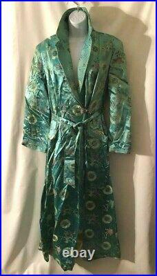 Vintage 60s Teal Blue Satin Brocade Chinese Bathrobe birds, flowers Robe XL