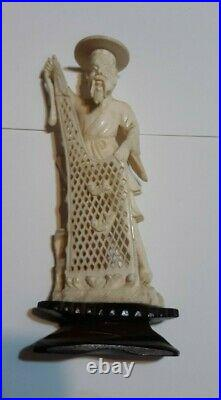 Vintage Antique Bovine Bone Hand Carved Chinese Fisherman Figurine 5'' x 2'' inc