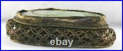 Vintage Antique Chinese Carved Jade Pendant Brass Filigree