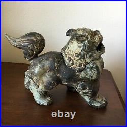 Vintage / Antique Chinese Cast Iron Fierce Foo Dog Incense Burner Censer