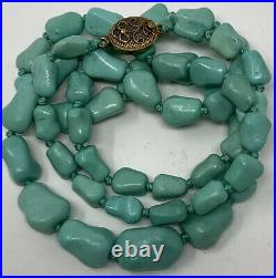 Vintage Antique Chinese Export Gem Nugget Turquoise Necklace filigree Clasp
