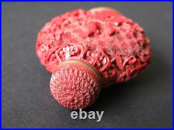 Vintage Antique Chinese Snuff Bottle Carved Cinnabar Red Lacquer Signed