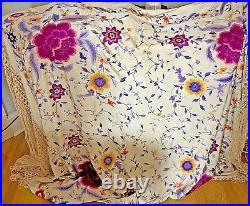 Vintage Antique Heavily Embroidered Chinese Piano Shawl Menton VV778