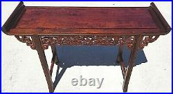 Vintage Asian Chinese Carved Rosewood Dragons Alter Entry Sofa Table Chinoiserie