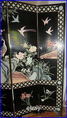 Vintage Asian Chinese Coromandel Screen Room Divider 4 Panel