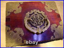 Vintage Asian Chinese Wooden Inserts Jewelry Box Chest Antique, box 7 tall