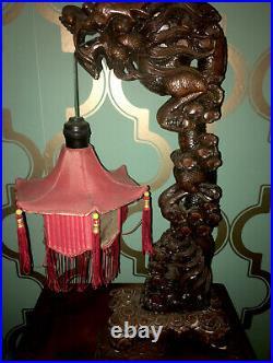 Vintage Asian Pagoda Fringe Chinese Lantern Carved Dragon Lamp