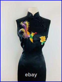 Vintage Black Qipao Cheongsam Chinese Dress Embroidered Peacock + Flowers M