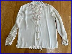Vintage Chinese 100% silk satin blouse Ivory Hand Embroidered Floral Romantic M