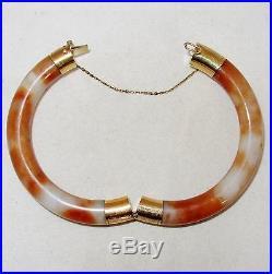 Vintage Chinese 14K Gold, Orange & White JADEITE Jade Bangle Bracelet (58.6g)
