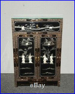 Vintage Chinese Asian Black Lacquer Storage Cabinet w Mother Of Pearl Side Table