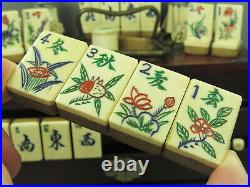 Vintage Chinese Bone & Bamboo Mahjong Set Mahjongg Set Auspicious Flower Tiles