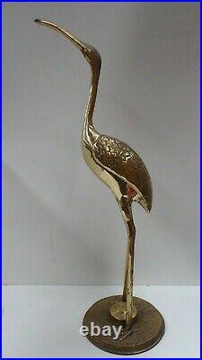 Vintage Chinese Brass Stork Crane Ibis Statue Antique Asian Decor