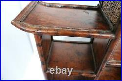 Vintage Chinese Brown Rosewood Wall Curio Display Cabinet Pagoda Style Shelves