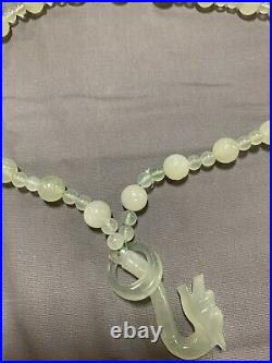 Vintage Chinese Carved Jade Jadeite Bead Necklace With Dragon Head Clasp