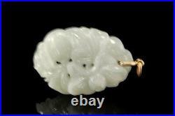 Vintage Chinese Carved Jadeite Jade 14k Gold Pendant D75-04