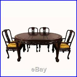 Vintage Chinese Carved Rosewood Dragon Dining Table with 8 Chairs set
