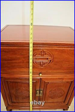 Vintage Chinese Carved Rosewood Secretary Writing Desk cabinet