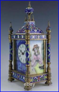 Vintage Chinese Cloisonne Enamel Carriage/mantle Clock Brass Case Bin