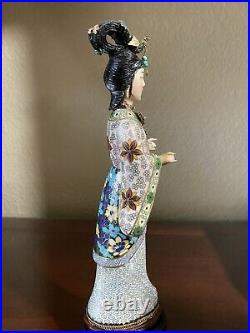 Vintage Chinese Cloisonne Figure Statue Women Carved