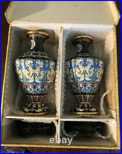 Vintage Chinese Cloisonne Pair of Vases in Original Box 9 1/8