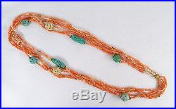 Vintage Chinese Coral Carved Turquoise Beads Pearls Five Strand Necklace