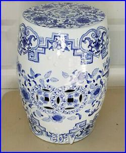 Vintage Chinese Export Dragon Phoenix Blue & White Porcelain Garden Seat Stool