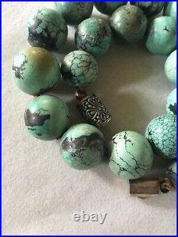 Vintage Chinese Export Turquoise Hand Knotted Necklace 17.5 Long 190 Grams
