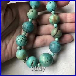 Vintage Chinese Export Turquoise Necklace 18 Long 97.1 Grams