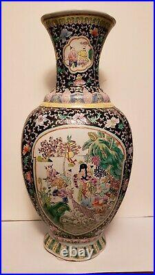 Vintage Chinese Famille verte Peranakan Straits Tongzhi mark but of PROC vase