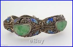 Vintage Chinese Fine Silver, Enamel & Jade Set Panels Bracelet Estate Find