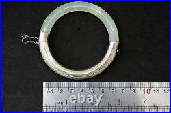 Vintage Chinese Hand Carved Silver and Natural Jade Bangle/Bracelet