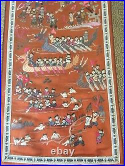 Vintage Chinese Hand Stitch Embroidery on Silk 100 Children Playing, Framed