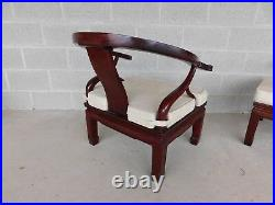 Vintage Chinese Ming Style Rosewood Arm Chairs a Pair