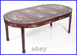 Vintage Chinese Mother of Pearl Inlaid R-Wood Dining Set 2 Arm & 6 Side Chairs