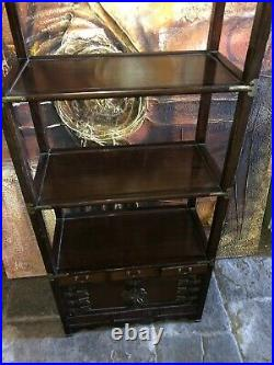 Vintage Chinese Oriental Teak Bamboo Display Cabinet Tall Book Shelf Cupboard